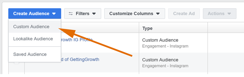 set up custom audience to make money on instagram